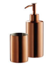 Bathroom Tumbler and Dispenser - Copper