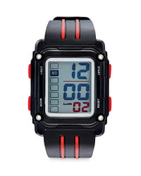 Black & Red Square Sports Watch