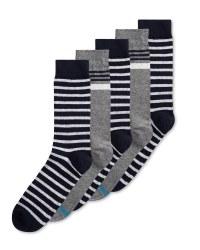 Black & White Stripe Socks 5 Pack