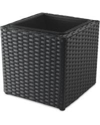 Black Cube Rattan Effect Planter