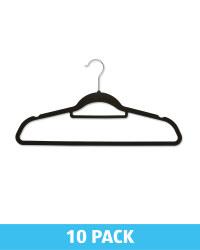 Black Flocked Coat Hangers 10 Pack
