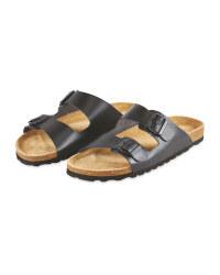 Avenue Men's Black Footbed Sandals