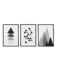 Black Frame Mono Geo Prints 3 Pack