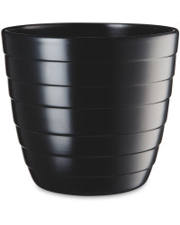 Black Matte Grooved Ceramic Pot