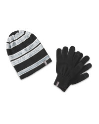 Black Merino Blend Hat & Glove Set