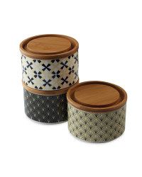 Black Pattern Stackable Canisters