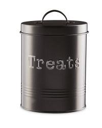 Black Pet Treat Storage Tin