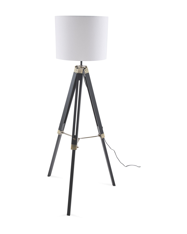 Black Wooden Tripod Floor Lamp
