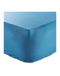 Blue Double Cotton Fitted Sheet