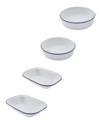 Blue Enamel Oven Dishes 4 Pack