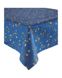 Blue Floral Wipe Clean Tablecloth