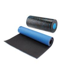 Blue Foam Roller & Fitness Mat Set