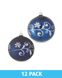 Blue Glass Baubles 12 Pack