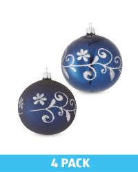 Blue Glass Baubles 4 Pack