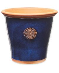 Blue Glazed Pot With Terracotta Rim
