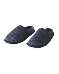 Blue Knit Memory Foam Slippers