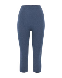 Blue Seamless Capri Fitness Leggings