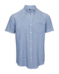 Blue Men's Linen Blend Shirt