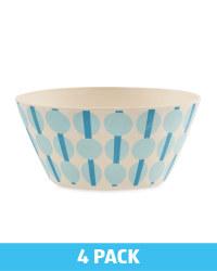 Blue Spot Bamboo Bowls 4 Pack
