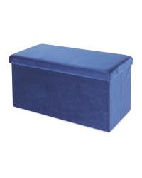 Blue Velvet Storage Ottoman