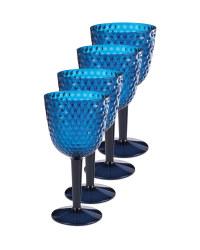Blue Picnic Wine Glasses 4 Pack