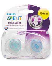 Blue/Green 0-6m Soothers 2 Pack