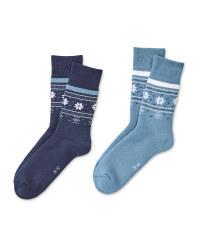 Blue/Navy Mountain Socks 2 Pack