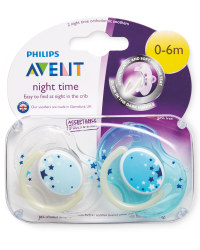 Blue/White 0-6m Glow Soothers 2 Pack