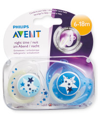 Blue/White 6-18m Glow Soother 2 Pack
