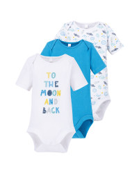 Blue/White Baby Bodysuit 3 Pack