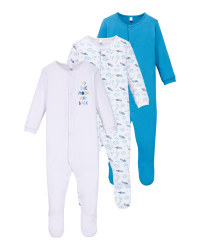 Blue/White Baby Sleepsuit 3 Pack