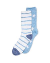 Blue/White Fluffy-Socks Twin Pack