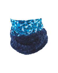 Kids' Blue Patterned Neck Warmer