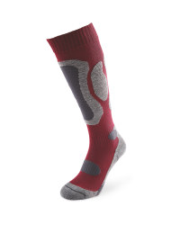 Bordeaux/Grey Ski Socks