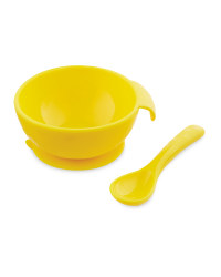 Nuby Silicone Bowl And Spoon Set - Yellow