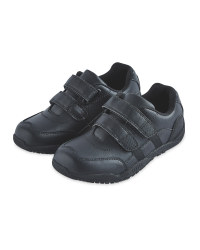 Boy's Action Black Leather Trainers