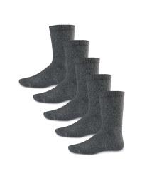 Boys' Ankle Socks 5 Pack - Charcoal