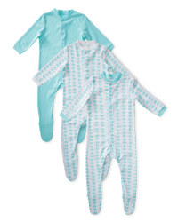 Boy's Elephant Sleepsuits 3-Pack