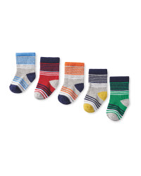 Boy's Striped Baby Socks 5-Pack