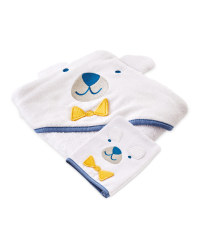 Blue Hooded Towel With Wash Mitt