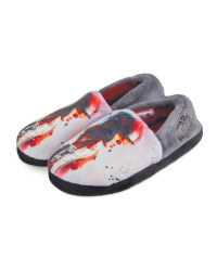 Boys' Elastic Grey/Red Slippers