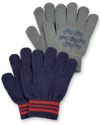 Boys Gloves - Grey Bicycles and Navy