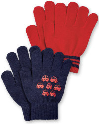 Boys Gloves - Navy Cars and Red