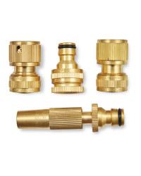 Brass Hose Connector 4 Piece Set