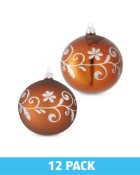 Brown Glass Baubles 12 Pack