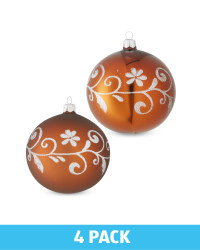Brown Glass Baubles 4 Pack