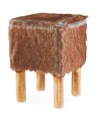 Brown Square Faux Fur Stool