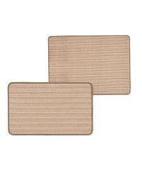 Brown Stripe Kitchen/Utility Mat Set
