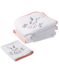 Bunny Hooded Baby Towel & Mitt