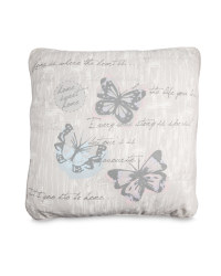 Butterfly-Print Vintage Cushion